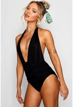 Black Textured Plunge Swimsuit