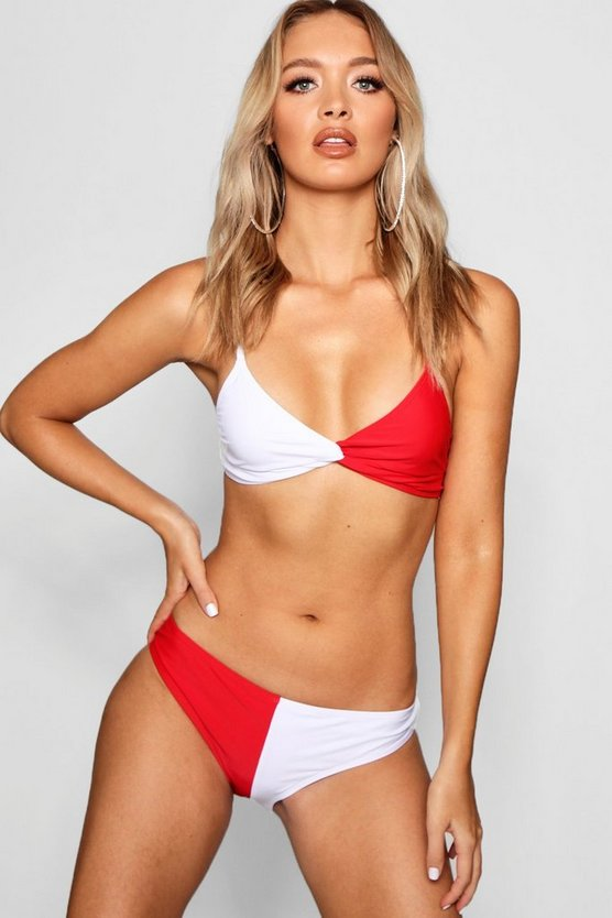 Womens Red USA Twist Triangle High Leg Bikini