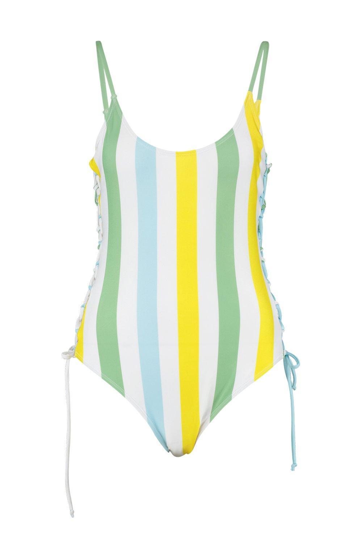 Bañador con amarillo cordones a rayas rFPrqY4
