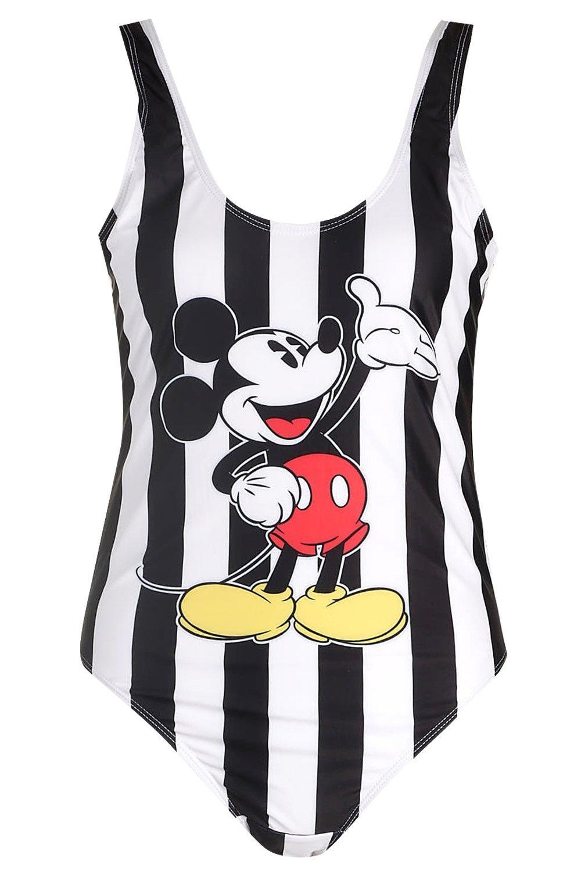 Mickey de a de con rayas Mouse negro Disney estampado Bañador wqO7TRX