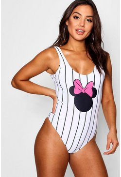 Womens White Disney Stripe Mouse Swimsuit