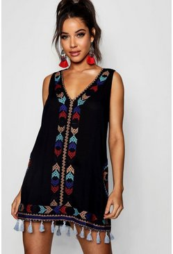 Womens Black Cheese Cloth Embroidered Tassel Sun Dress