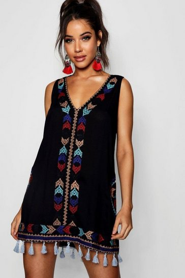 Black Cheese Cloth Embroidered Tassel Sun Dress
