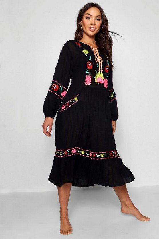 Womens Black Embroidered Tassel Trim Maxi Dress