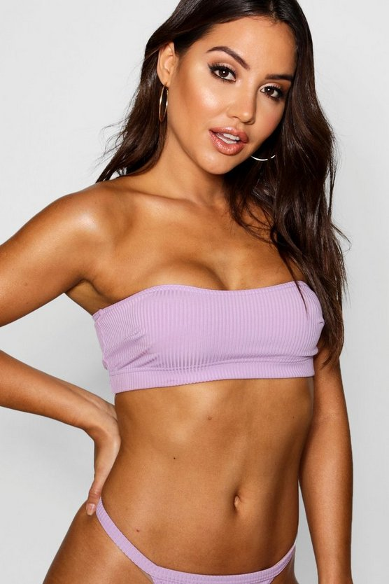 Womens Lilac Mix & Match Ribbed Bandeau Top