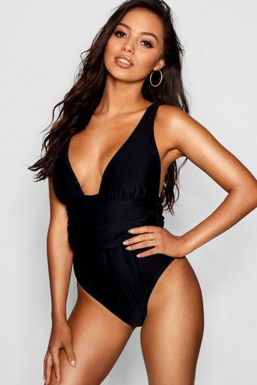 Womens Black Riomaggiore Fuller Bust Ruched Swimsuit