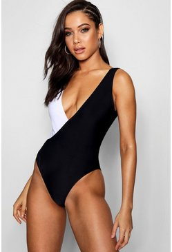 Womens Black Crossover Colour Block Swimsuit