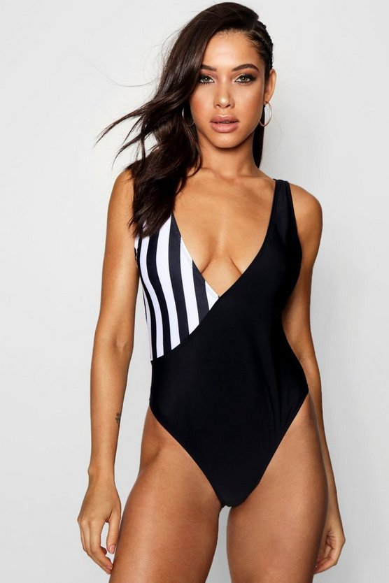 Paris Colour Block Stripe Crossover Swimsuit