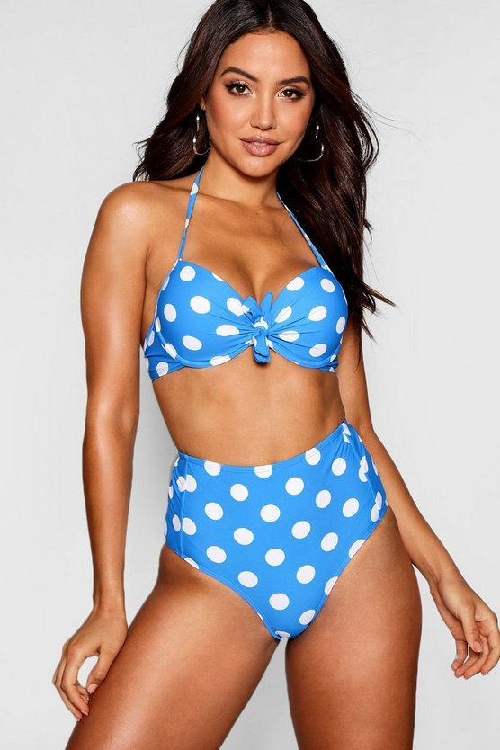 Mix and Match Spot Underwired Push Up Plunge Bikini Top, Blue, ЖЕНСКОЕ