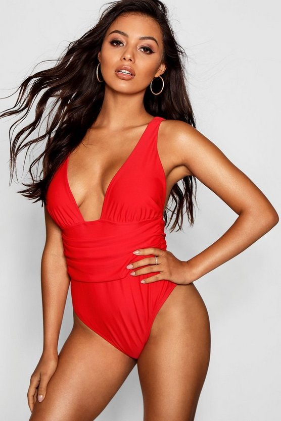 Red Nice Fuller Bust Ruched Swimsuit
