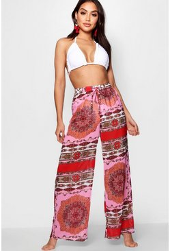 Womens Pink Scarf Print Beach Trouser