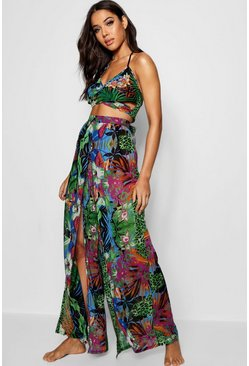 Green Tropical Split Leg Pants Beach Co-Ord