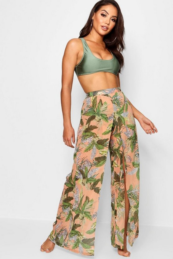 Womens Peach Tropical Split Leg Beach Trouser