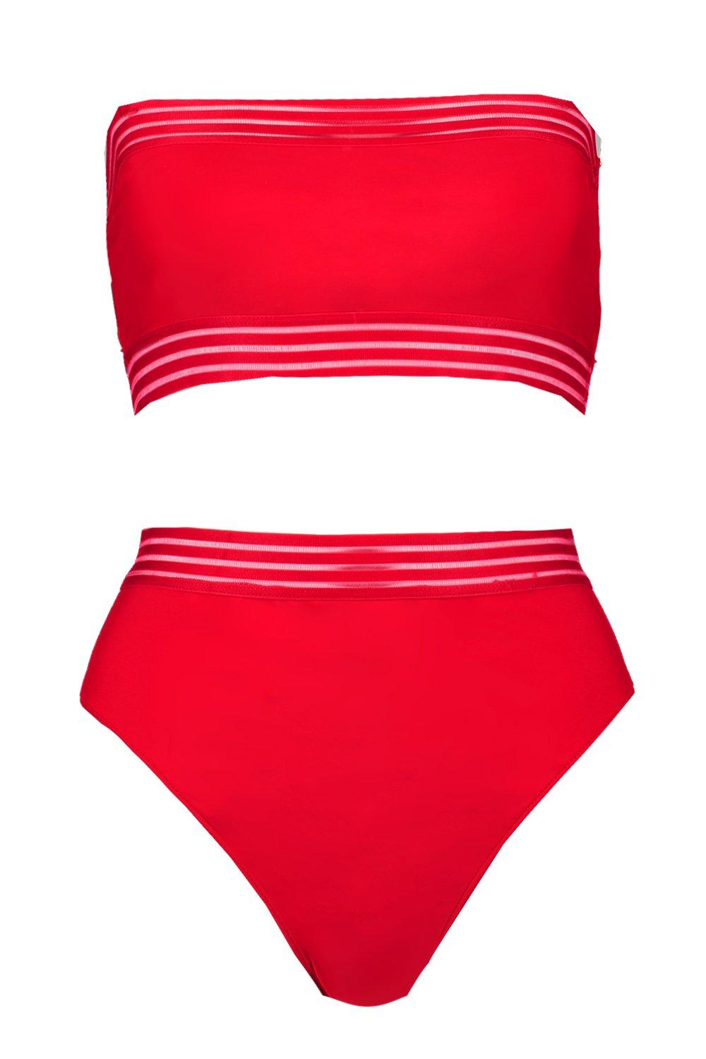 Detail Waisted Bikini Mesh red High HzYwnfYqA