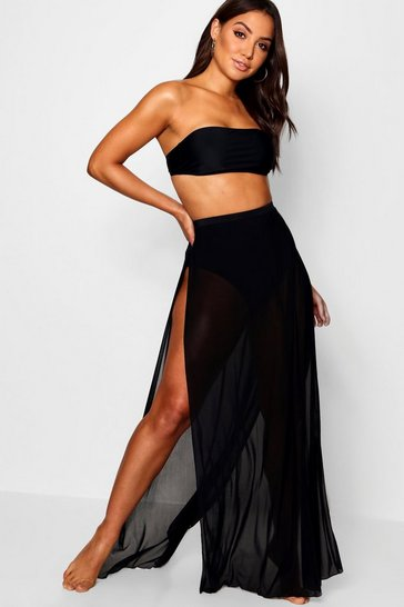 Womens Black Bandeau & Skirt 2 Piece Swim Set