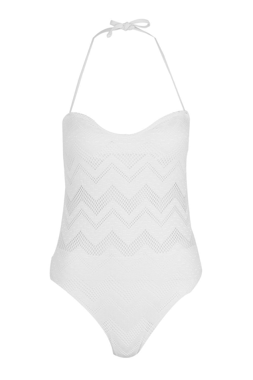 Bandeau Zig Crochet white Swimsuit Zag Texas 416xA6