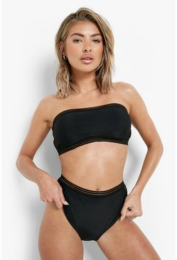 Cape Verde Mesh Detail Bandeau High Waisted Bikini, Black, ЖЕНСКОЕ