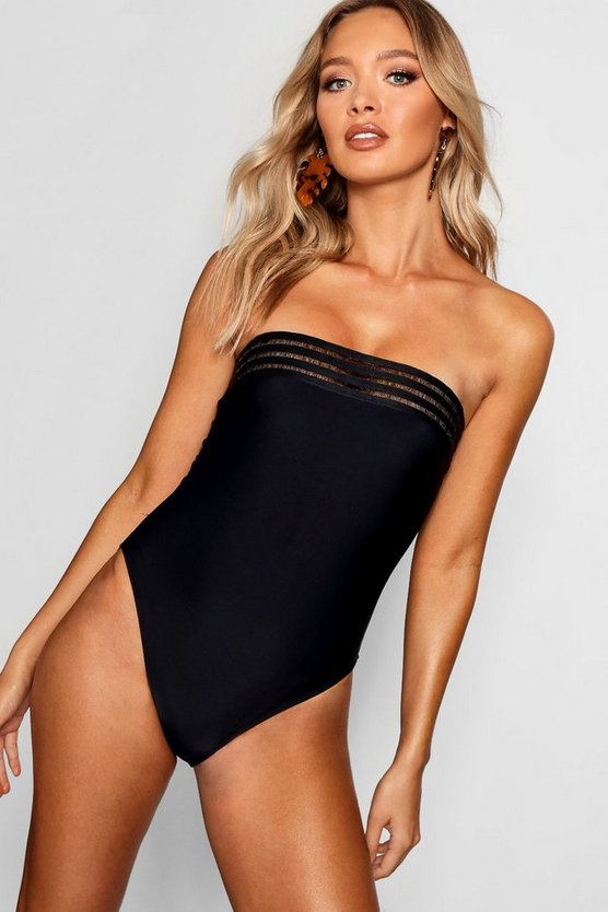 Womens Black Mesh Detail Bandeau Swimsuit