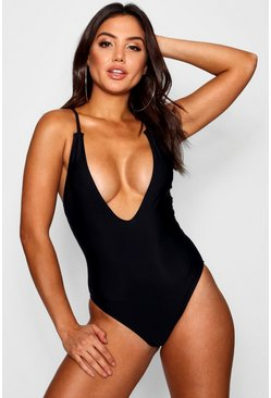 Womens Black Arizona Plunge Cross Back Swimsuit