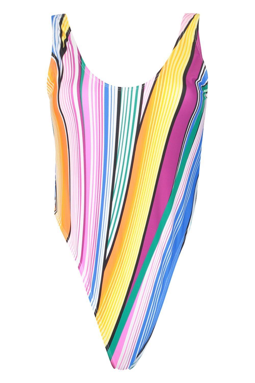 purple Stripe High Bodrum Leg Swimsuit Scoop wvTnXxz4q