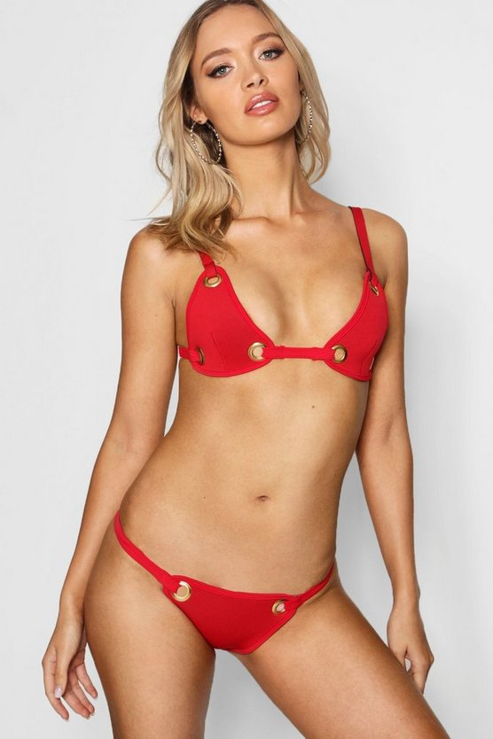 Womens Red Brazil Eyelet Triangle Bikini