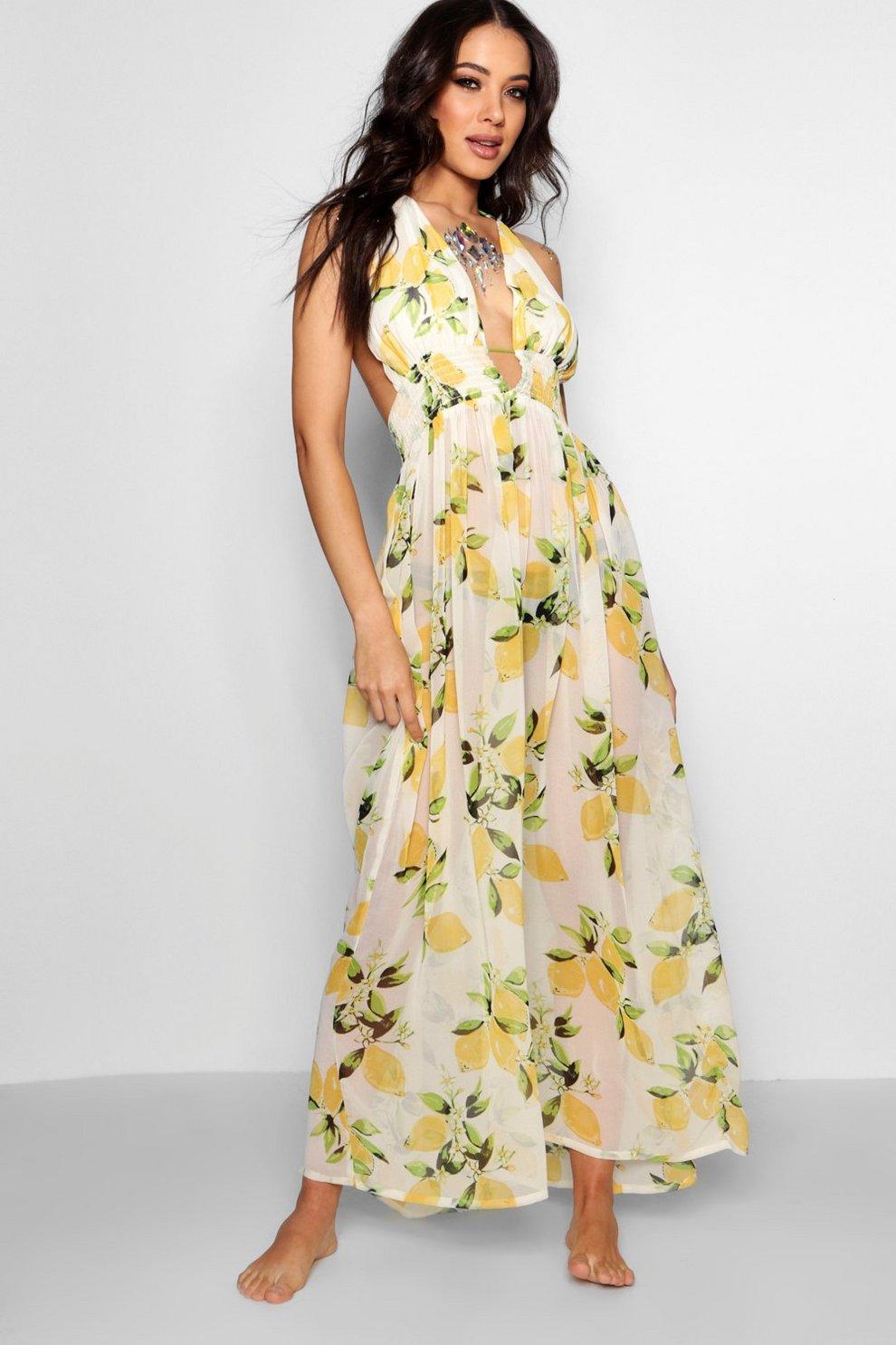 5dbc82720 Vestido largo playero con estampado de limones
