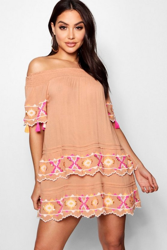 Layered Scallop Embroidered Beach Dress