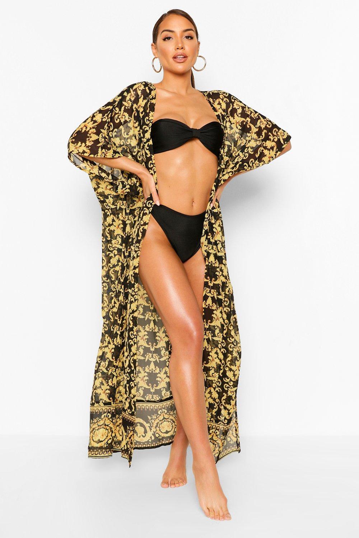 Kimono playero negro pañuelo estampado de maxi Z0q6wZ