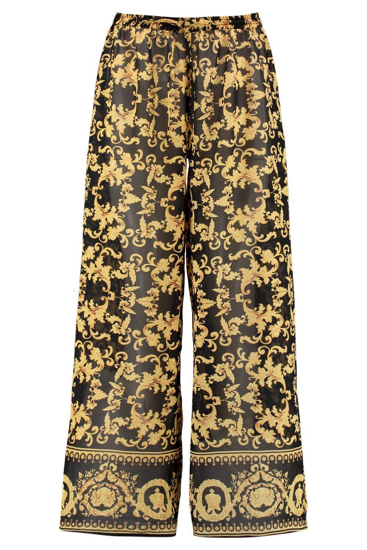 de playeros negro pañuelo estampado Pantalones qv45zCww