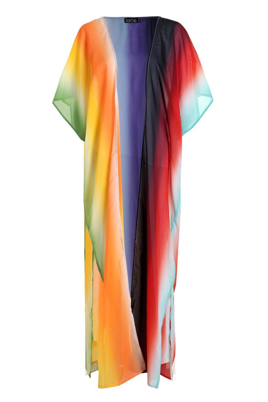 de playero maxi arcoíris rojo Kimono g6Hqazn