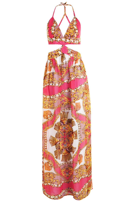 playero con rosa Vestido pañuelo de maxi aberturas qOU5x5wpYE