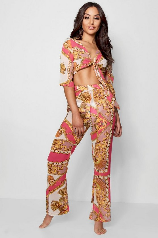 Scarf Print Tie Front Top & Trouser Beach Co-ord