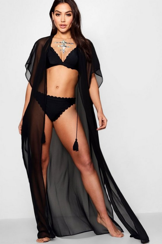 Womens Black Maxi Beach Kaftan