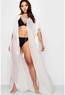 Womens White Maxi Beach Kaftan