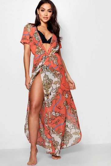 Womens Orange Scarf Print Beach Maxi Kimono
