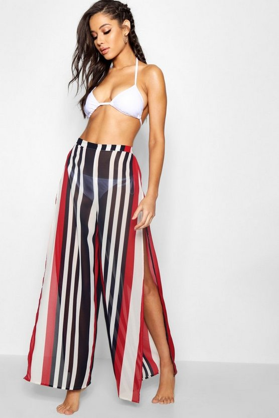 Sailor Stripe Split Leg Beach Trousers