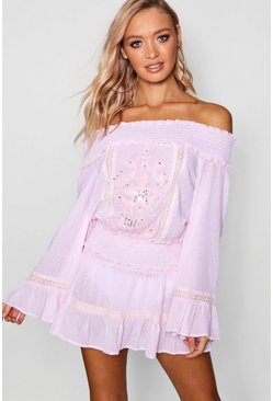 Womens Pink Bardot Top & Frill Skirt Beach Co-ord