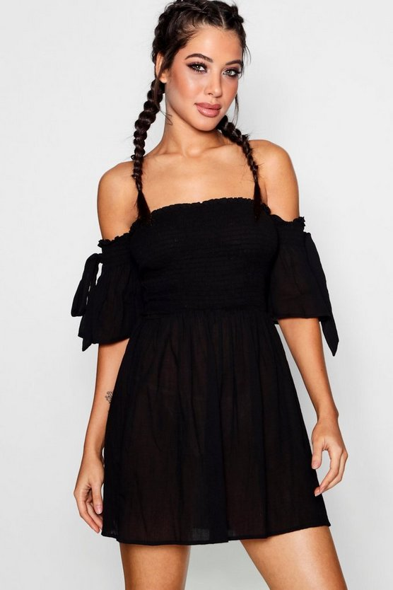 Tie Sleeve Bardot Beach Dress