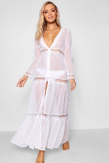 White Boho Lace Beach Dress