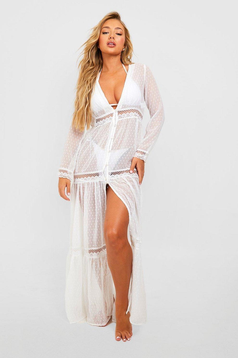 659f10532022 Womens White Boho Lace Beach Dress