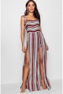 Womens Red Stripe Beach Split Maxi Dress