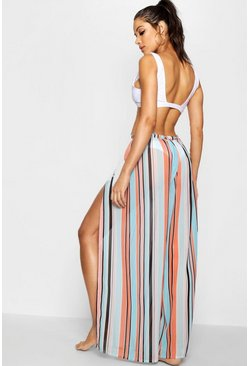 Womens Orange Summer Stripe Split Leg Beach Trouser