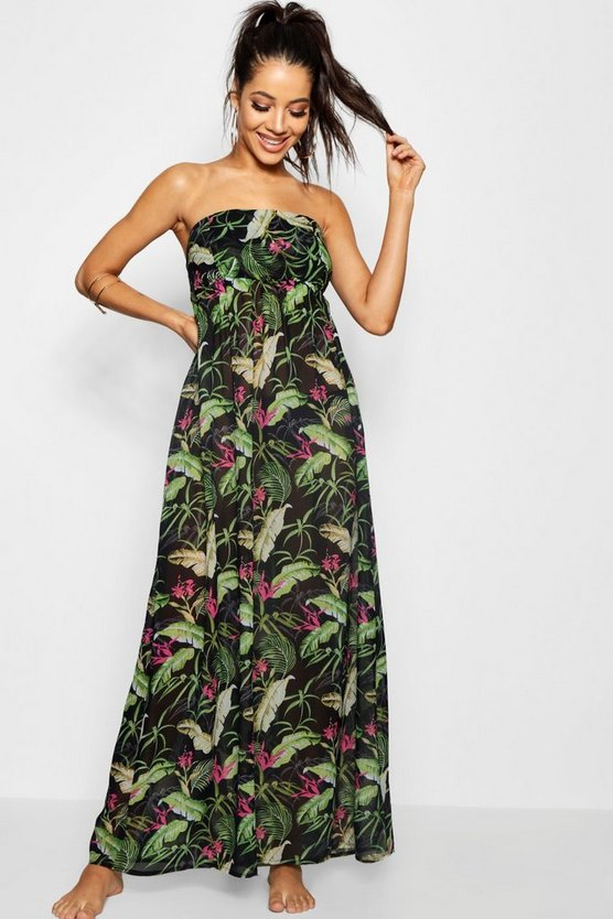 Tropical Sheered Maxi Beach Dress