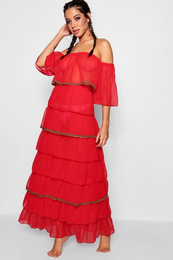 Womens Red Fiesta Ruffle Bardot Beach Co-ord