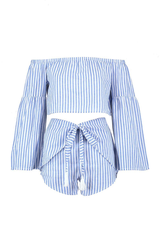 Bardot estilo playero pantalones cortos Weap conjunto de azul rayas A g6ZaAq
