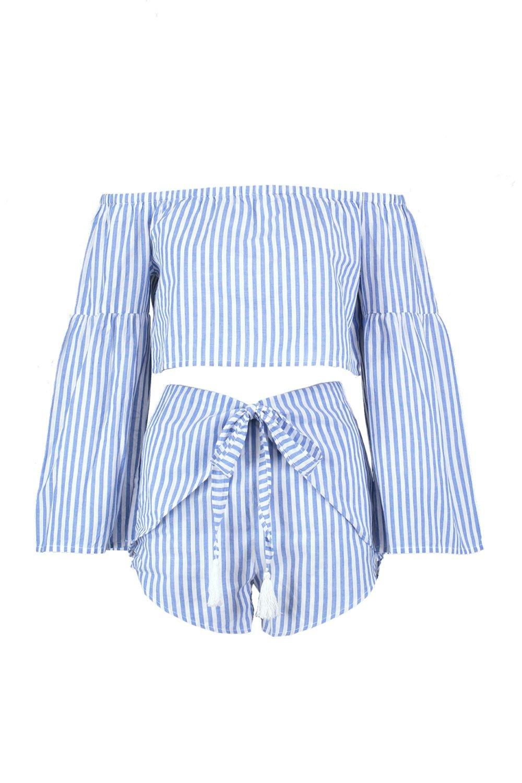 conjunto estilo cortos rayas Bardot azul playero Weap pantalones de A U851qq