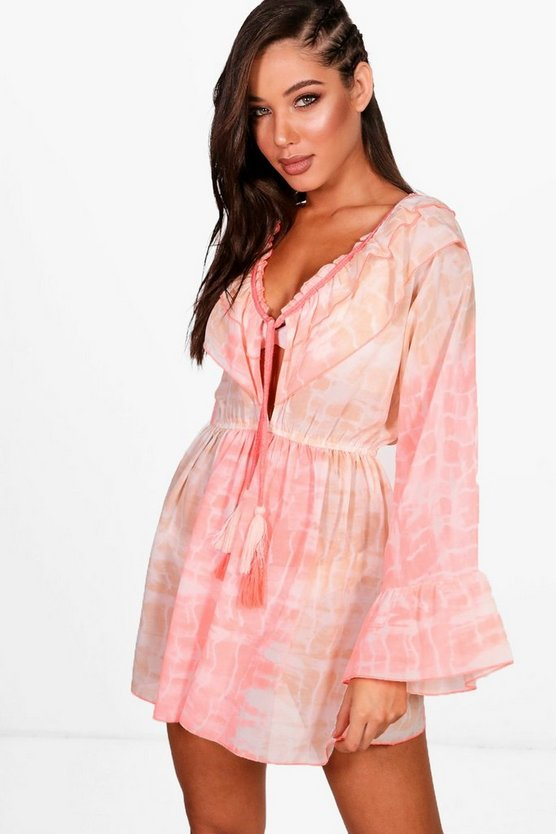 Womens Peach Tie Dye Frill Beach Top