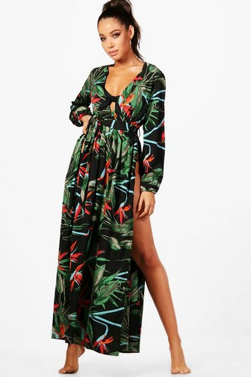 Womens Black Julia Tropical Maxi Beach Dress