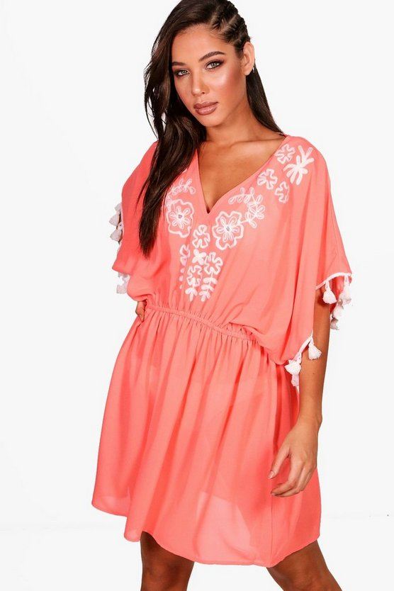Womens Coral Summer Embroidered Tassel Beach Kaftan