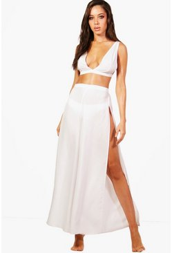 Womens White Plunge Beach Top & Trouser Co-ord
